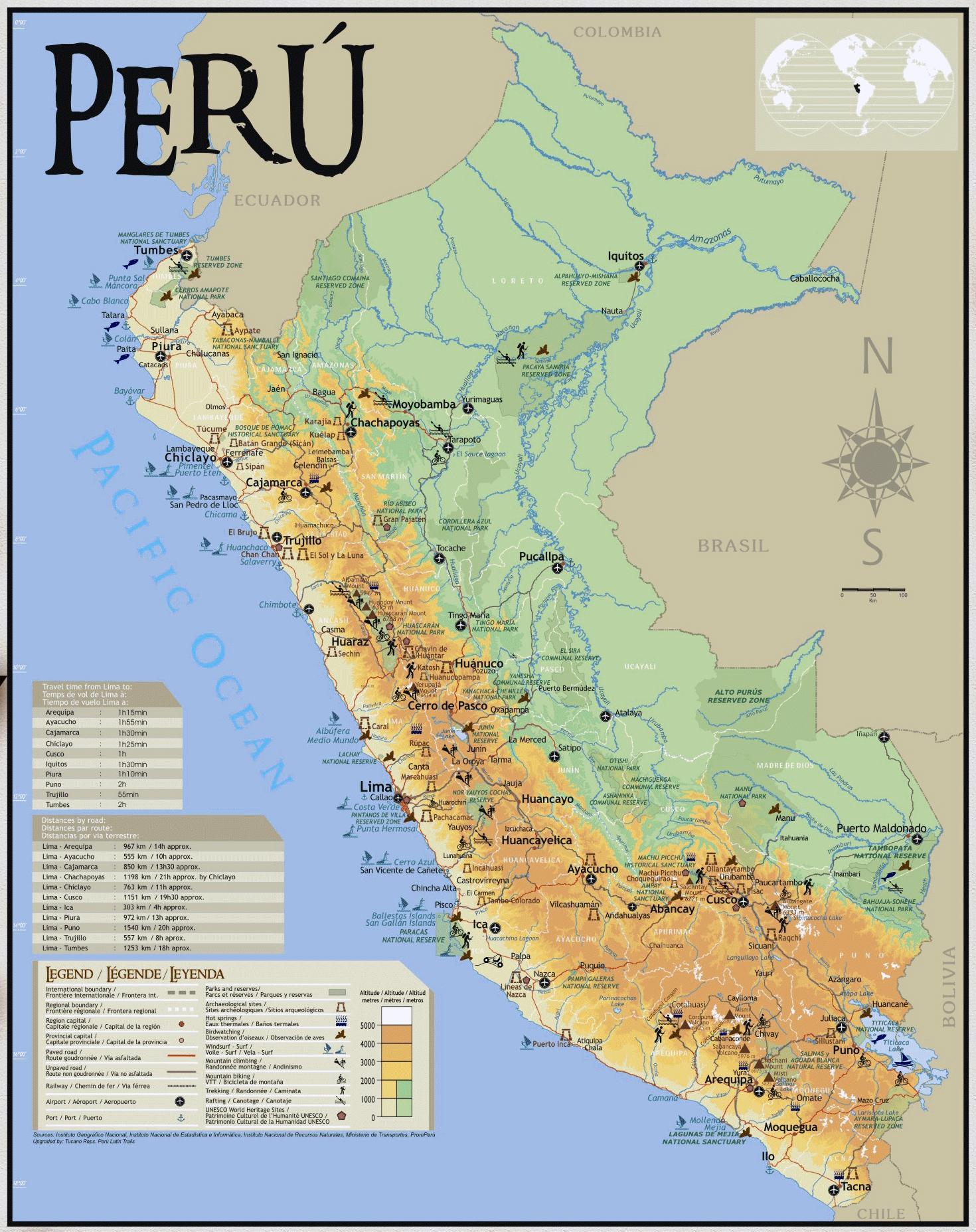 Peru Rejse Kort Kort Over Peru Rejse Syd Amerika Amerika