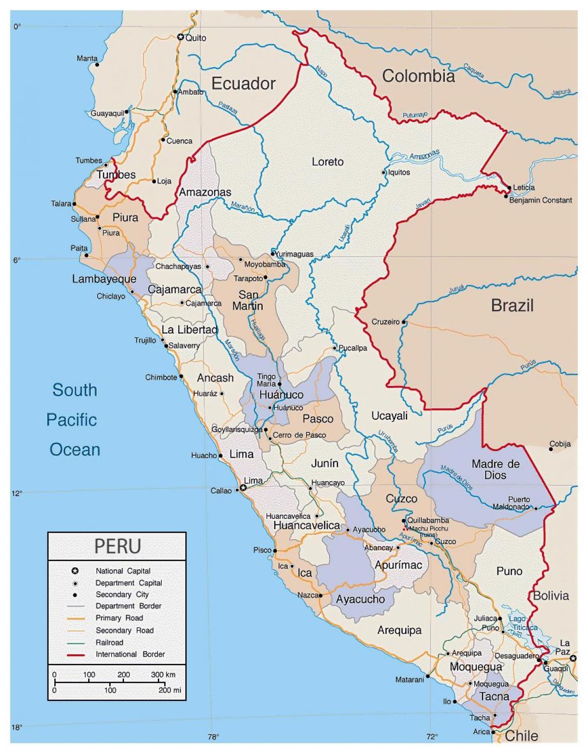 Detaljeret Kort Over Peru Kort Med Detaljerede Kort Over Peru