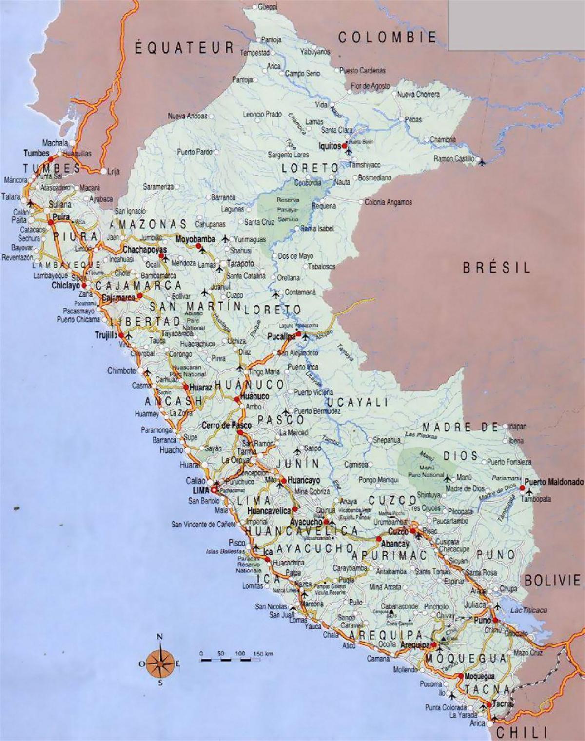 Peru Byer Kort Kort Over Peru Byer Syd Amerika Amerika